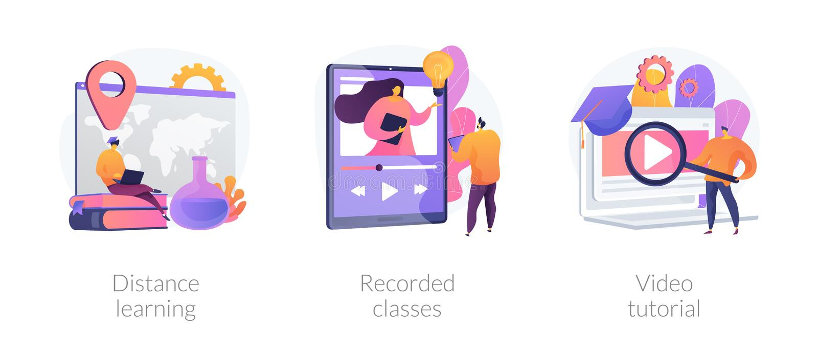 Off-campus learning vector concept metaphors. Home education, remote university graduation, online educational materials icons set. Distance learning, recorded royalty free illustration