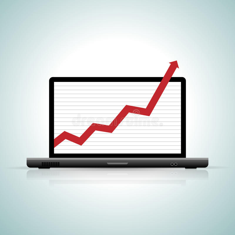 Off the Chart. Vector illustration of a laptop showing an off-the-chart graphics vector illustration