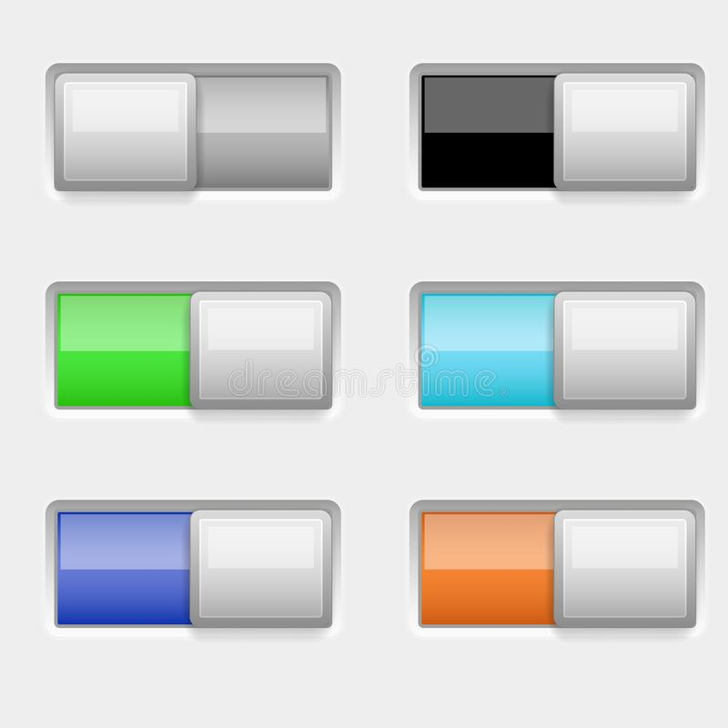 On and off colored slider buttons. Vector 3d illustration royalty free illustration