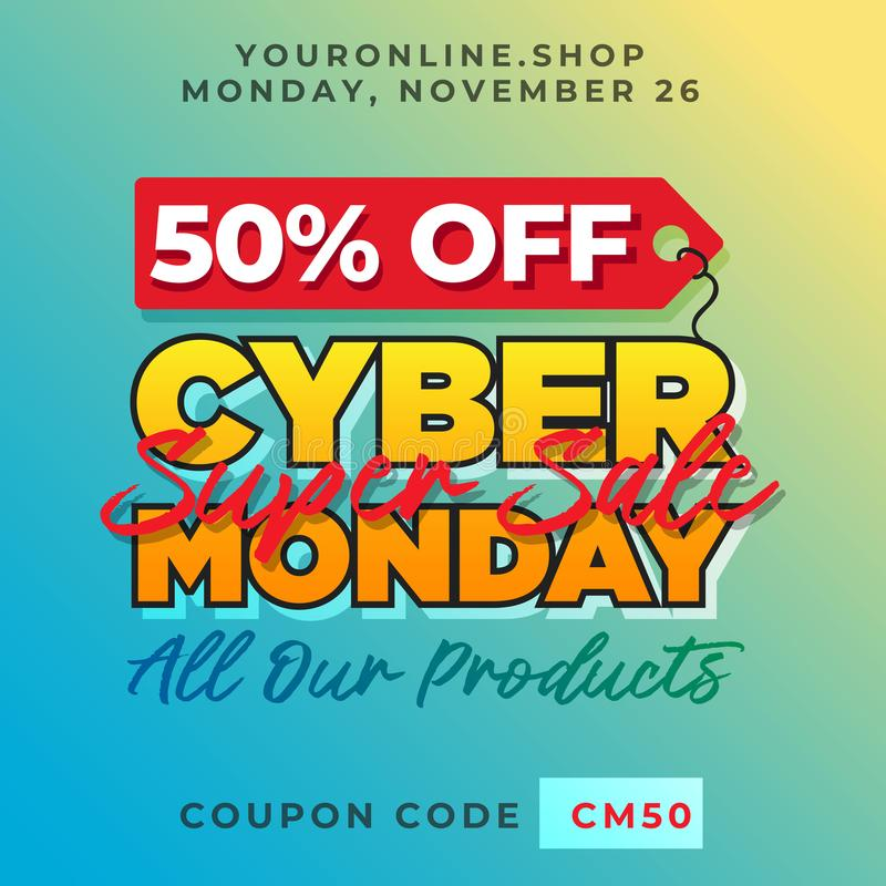 50 Off Cyber Monday Discount Banner Vector. Super Sale