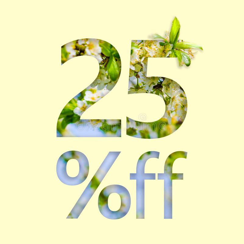 25% off discount. The concept of spring sale, stylish poster, banner, promotion, ads royalty free illustration