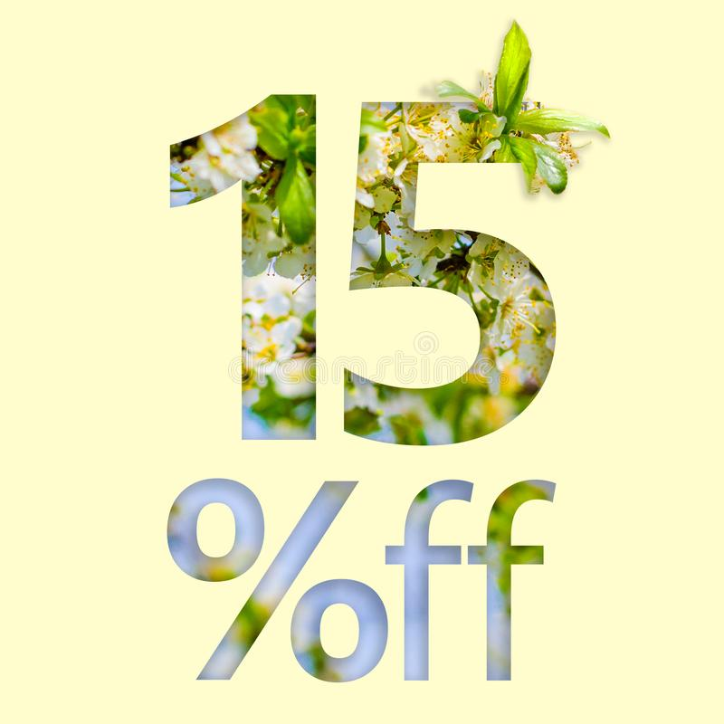 15% off discount. The concept of spring sale, stylish poster, banner, promotion, ads.  stock illustration