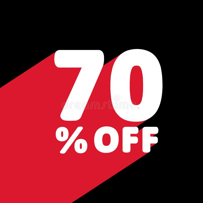 70% OFF Discount. Discount Offer Price Illustration. White Text with Red Shadow Below. Black Background. vector illustration