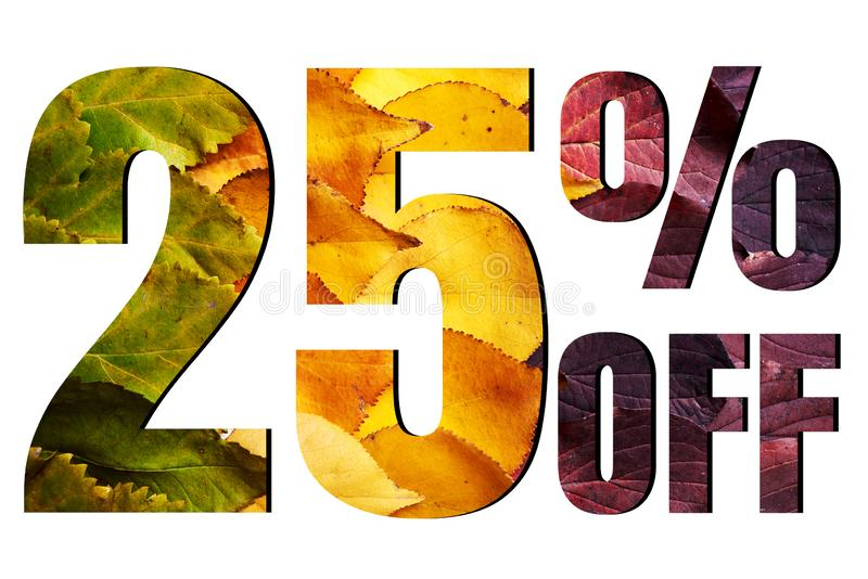 25% off discount promotion sale poster, ads. Autumn sale banner with green, yellow and red leaves on white background. Concept, percent, price, offer, shop royalty free stock image