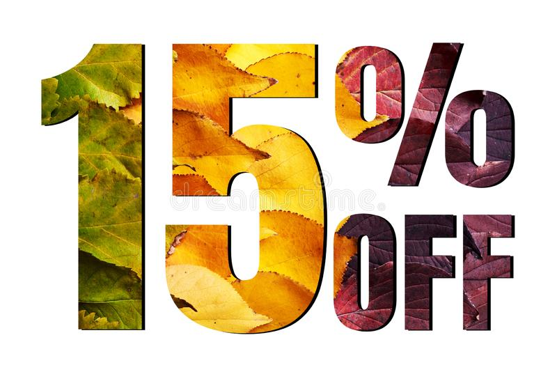 15% off discount promotion sale poster, ads. Autumn sale banner with green, yellow and red leaves on white background. royalty free stock photos