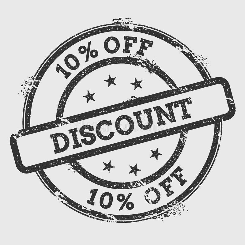 10% off Discount rubber stamp isolated on white. stock illustration