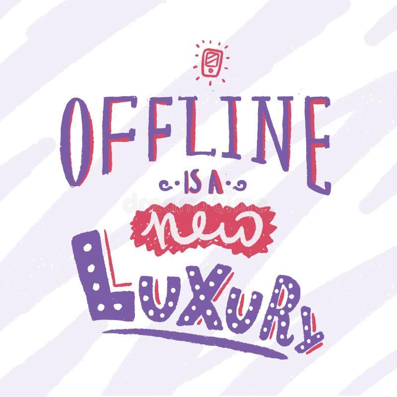 Off-$l*line είναι ένα νέο σχέδιο αφισών πολυτέλειας με το smartphone και συρμένη τη χέρι εγγραφή ελεύθερη απεικόνιση δικαιώματος