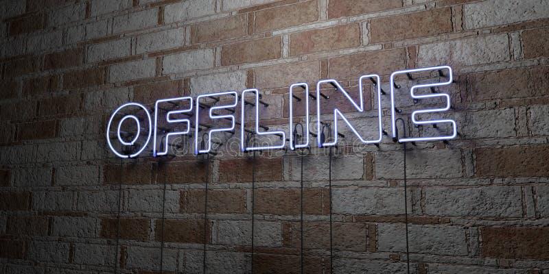 OFF-$L*LINE - Καμμένος σημάδι νέου στον τοίχο τοιχοποιιών - τρισδιάστατο δικαίωμα ελεύθερη απεικόνιση αποθεμάτων απεικόνιση αποθεμάτων