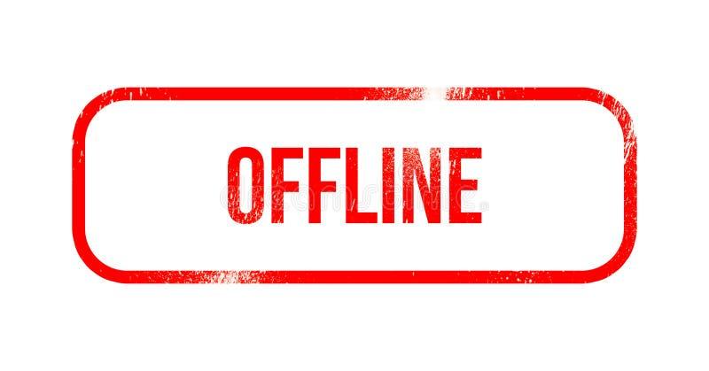 Off-$l*line - κόκκινο λάστιχο grunge, γραμματόσημο ελεύθερη απεικόνιση δικαιώματος