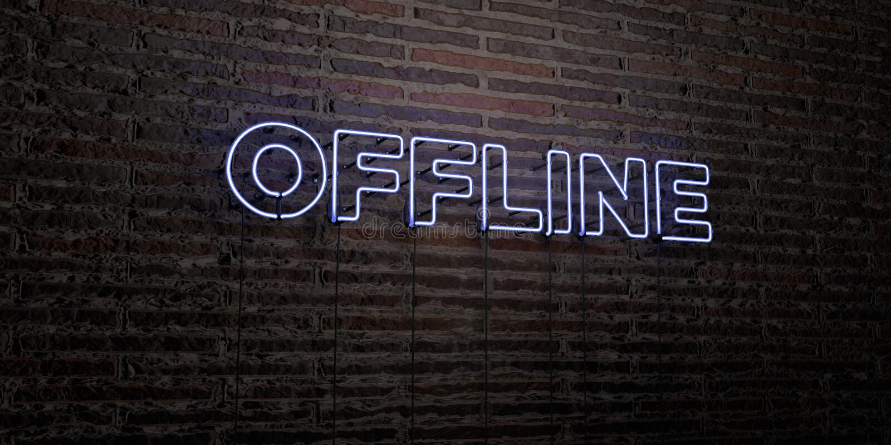 OFF-$L*LINE - ρεαλιστικό σημάδι νέου στο υπόβαθρο τουβλότοιχος - τρισδιάστατο δικαίωμα ελεύθερη εικόνα αποθεμάτων ελεύθερη απεικόνιση δικαιώματος