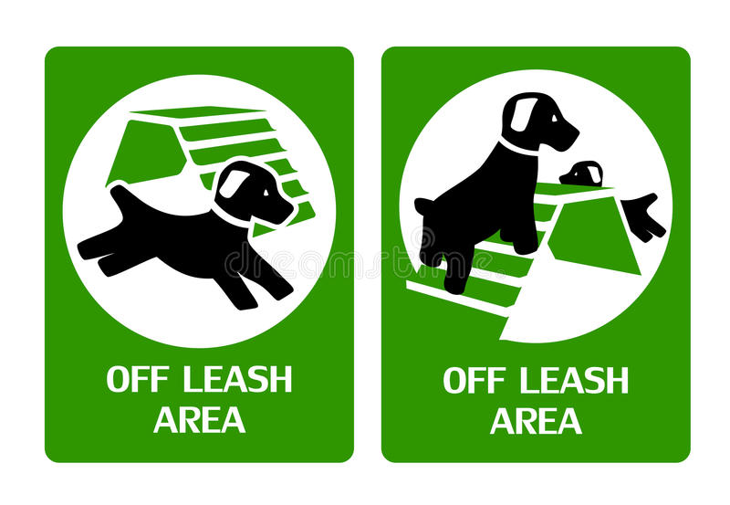 Off leash area. Signs for dog playground, off-leash area vector illustration