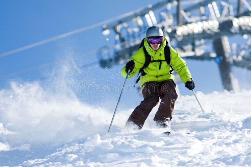 Off-piste skiing stock image