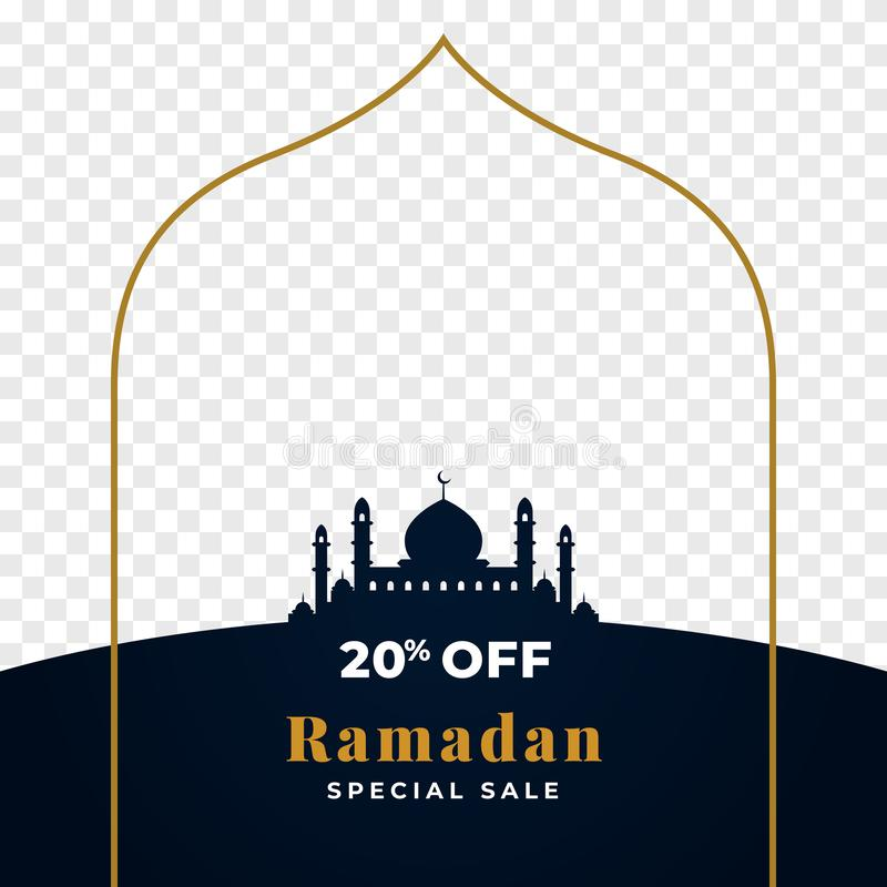 20% off ramadan special sale background template design with transparent image place holder space. great mosque silhouette with. Golden line frame vector vector illustration