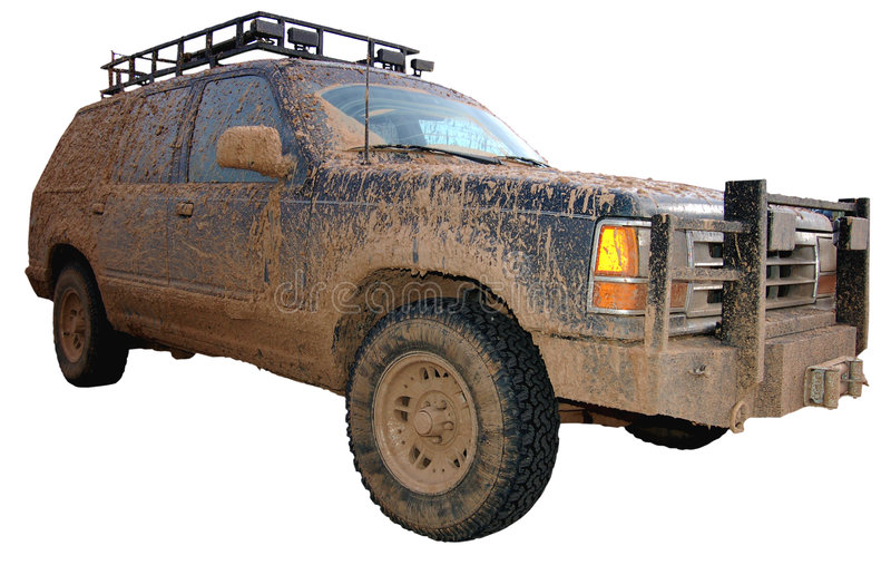 Off Road. Dirty sports utility car after off roading stock photo