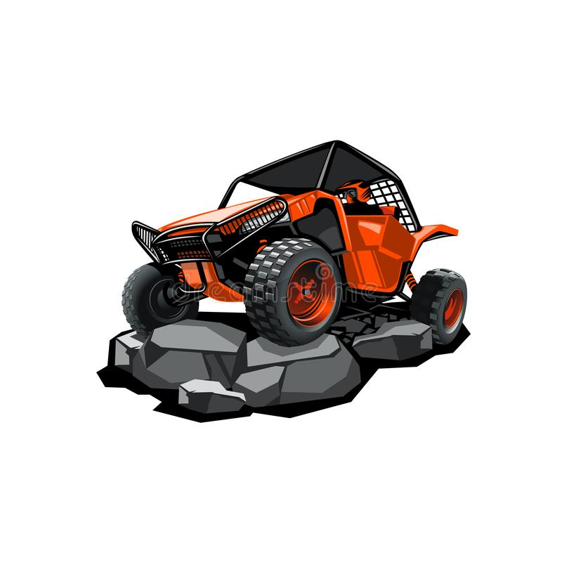 Off-Road ATV Buggy, rides in the mountains on the rocks. Red color. stock image