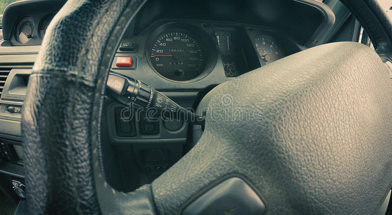 Off-road auto interior - dashboard - inner workings of a car royalty free stock photography