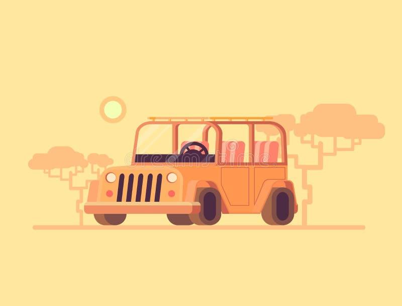 Off-Road Auto Vector vlakke illustratie van wegauto Safaritoerisme in een auto stock illustratie