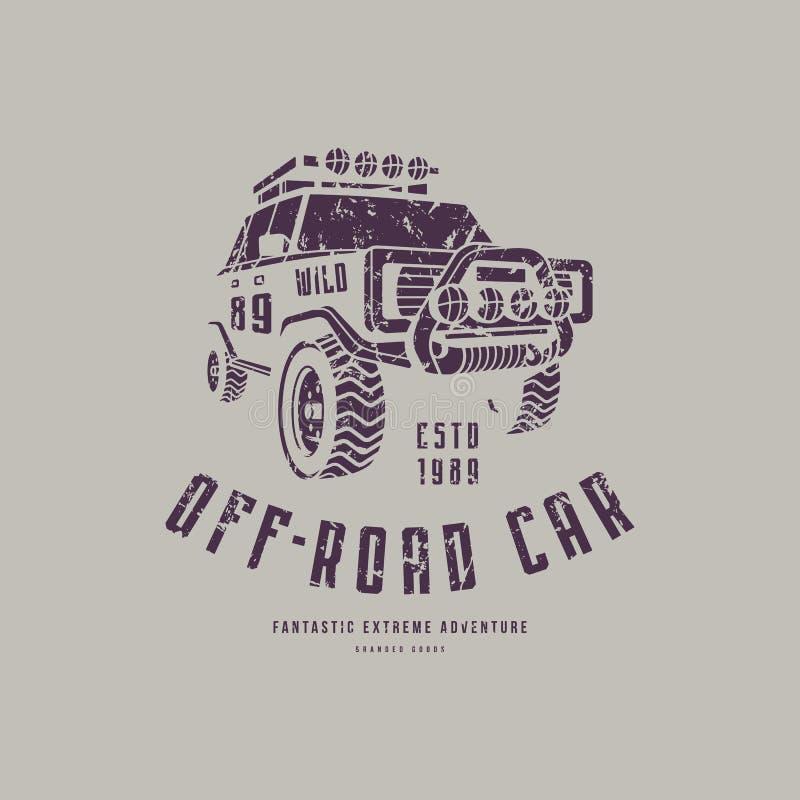 Off-road autoembleem stock illustratie