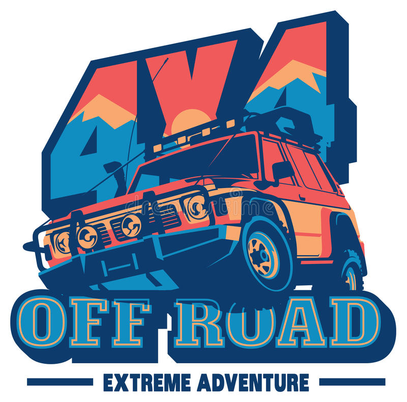 Off-road autoembleem, safari suv, expeditie offroader stock illustratie
