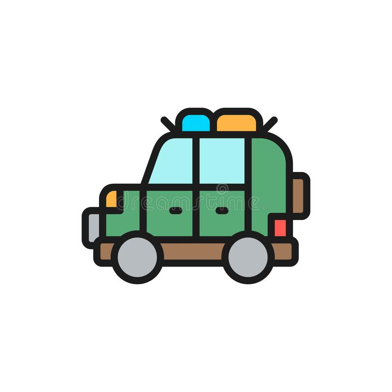 Off road automobile, SUV, car for travel flat color line icon. stock illustration