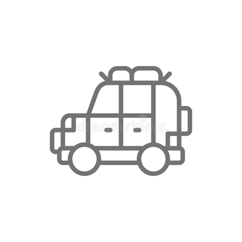 Off road automobile, SUV, car for travel line icon. stock illustration