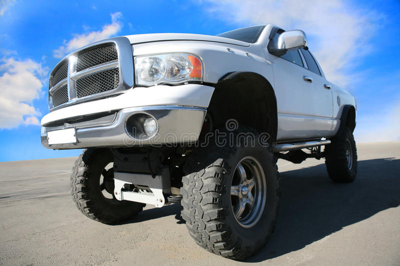 Off-road car on the big wheels royalty free stock photos