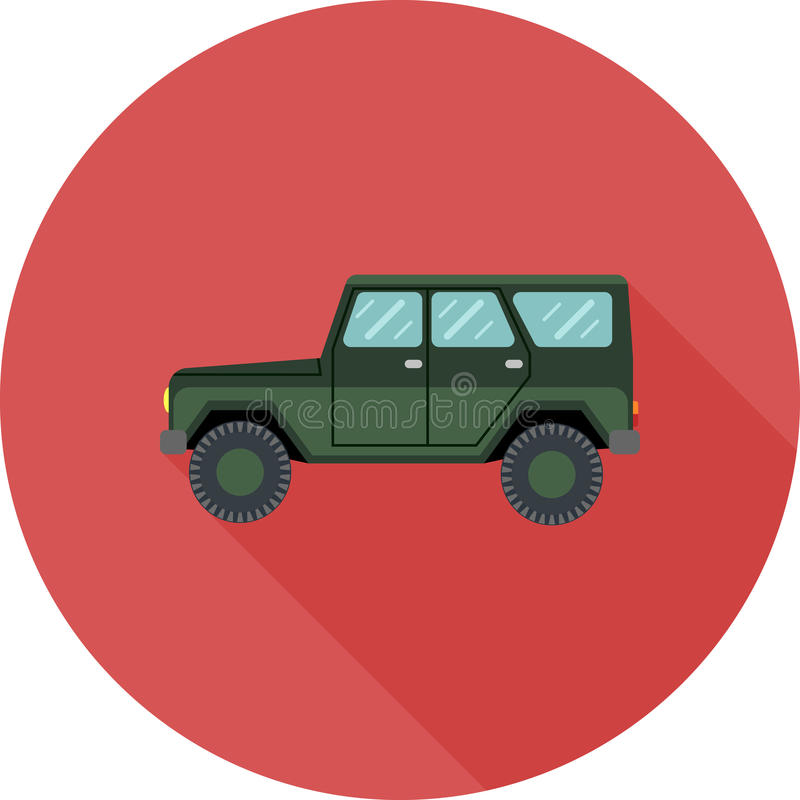 Off road car in flat design with long shadow royalty free illustration