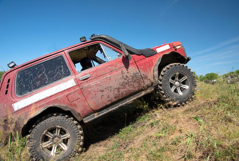 Off-road car for participation in sports competitions. With special equipment stock images