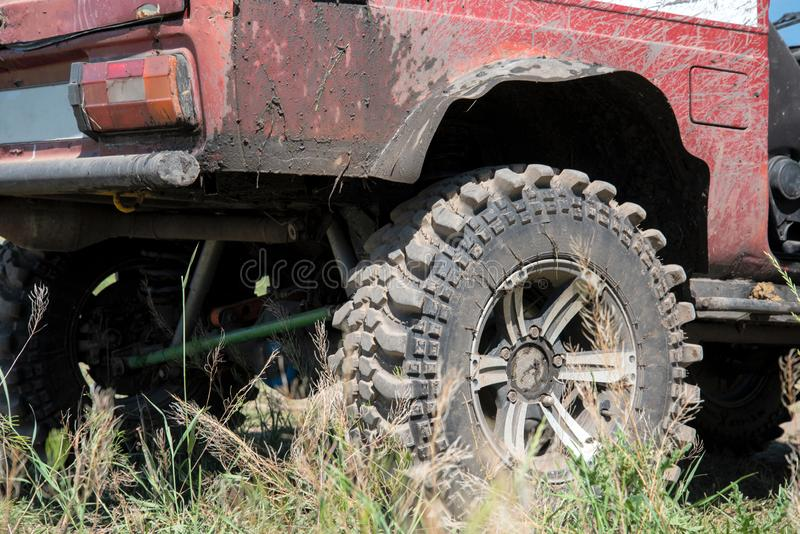 Off-road car for participation in sports competitions. With special equipment royalty free stock photos
