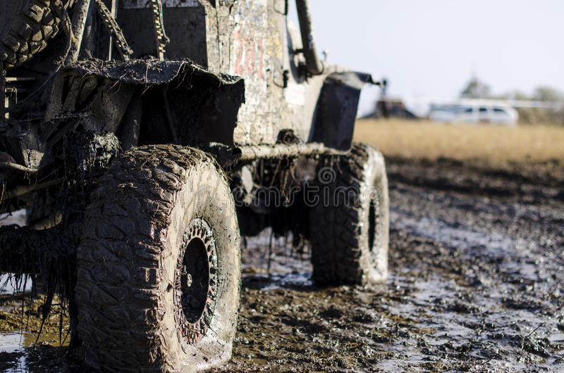 Download Off-road Car In A Puddle Making Mud Splashes. Stock Photo - Image of four, freedom: 87281294