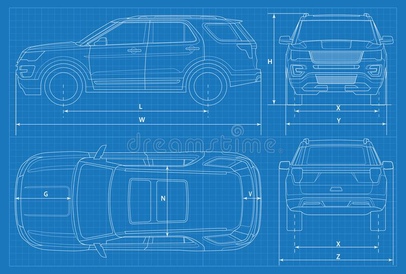 Off road car schematic or suv car blueprint vector illustration download off road car schematic or suv car blueprint vector illustration off road malvernweather Images