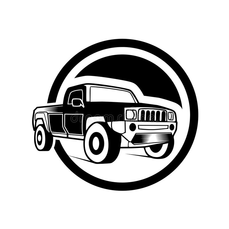Off-road car on white background. Image of a balck pickup truck in a realistic style. Vector illustration,eps8,ep10 stock illustration