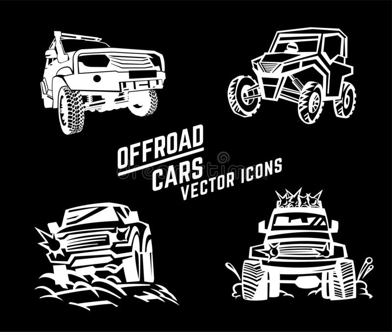 Off-road cars set royalty free stock images