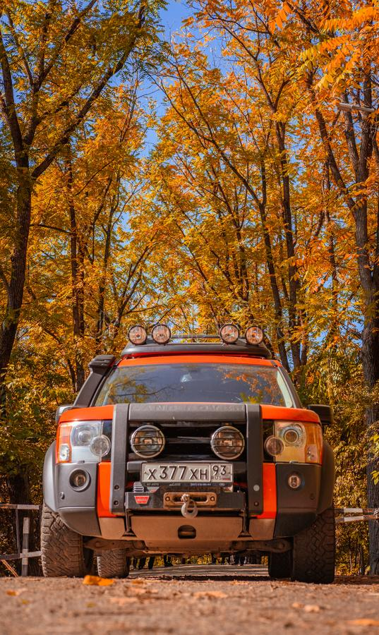 Off road driving in the autumn colorful woods 7/10/2019 - Krasnodar, Russia stock photo