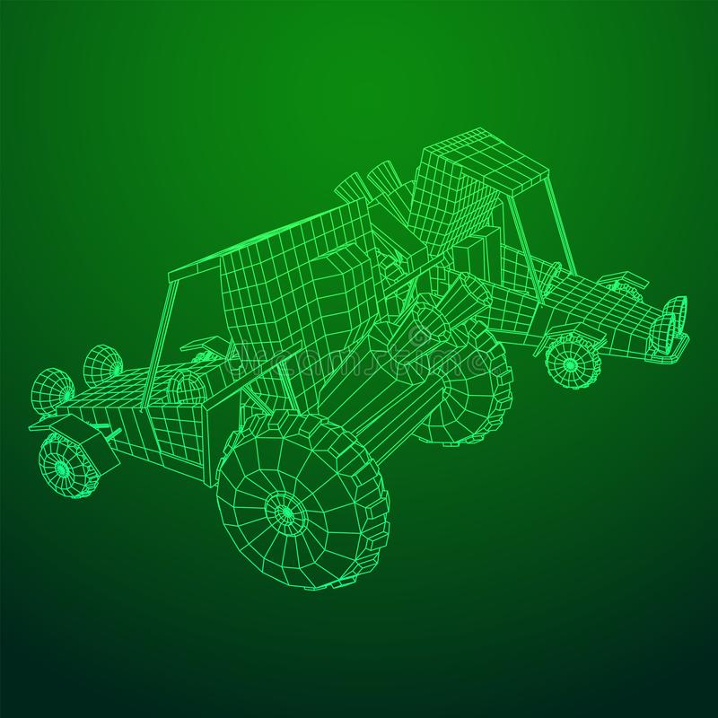Off road dune buggy car. Terrain vehicle. Outdoor car racing, extreme sport concept. Wireframe low poly mesh vector illustration royalty free illustration