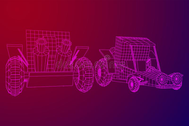 Off road dune buggy car. Terrain vehicle. Outdoor car racing, extreme sport concept. Wireframe low poly mesh vector illustration vector illustration