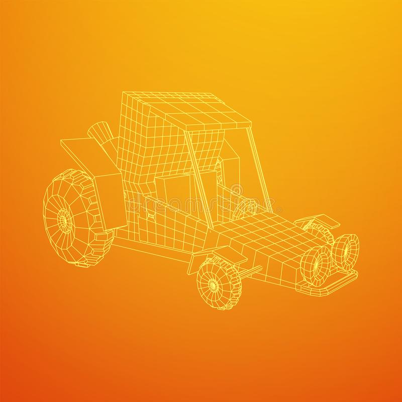 Off road dune buggy car. Terrain vehicle. Outdoor car racing, extreme sport oncept. Wireframe low poly mesh vector illustration stock illustration