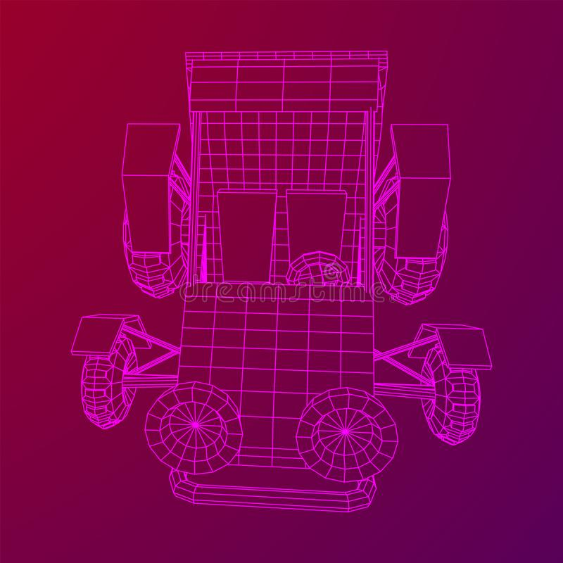 Off road dune buggy car. Terrain vehicle. Outdoor car racing, extreme sport concept. Wireframe low poly mesh vector illustration stock illustration