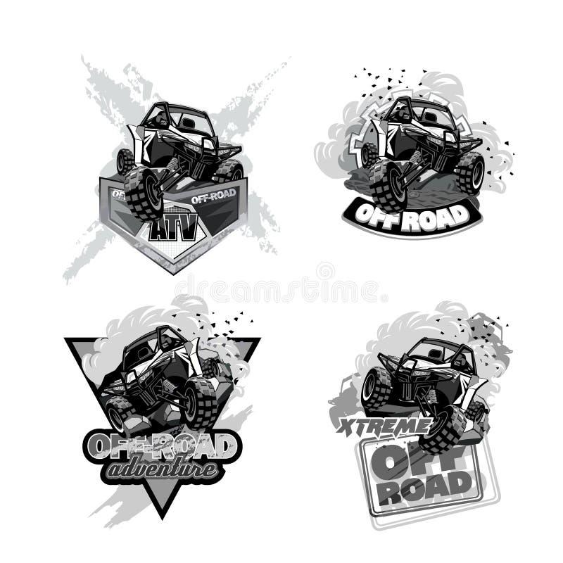 Off-Road Embleem Met fouten, Zwart-witte van ATV stock illustratie