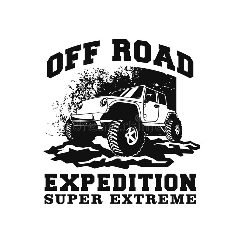 Off road expedition super extreme 4x4 car illustration  design. outdoor vehicle with mud terrain and dust background. royalty free illustration