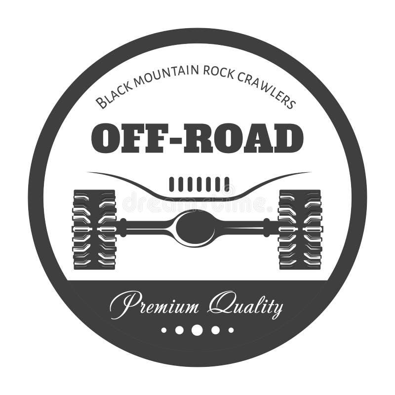 Off-road 4x4 extreem het embleemmalplaatje van de autoclub Vector symbool royalty-vrije illustratie
