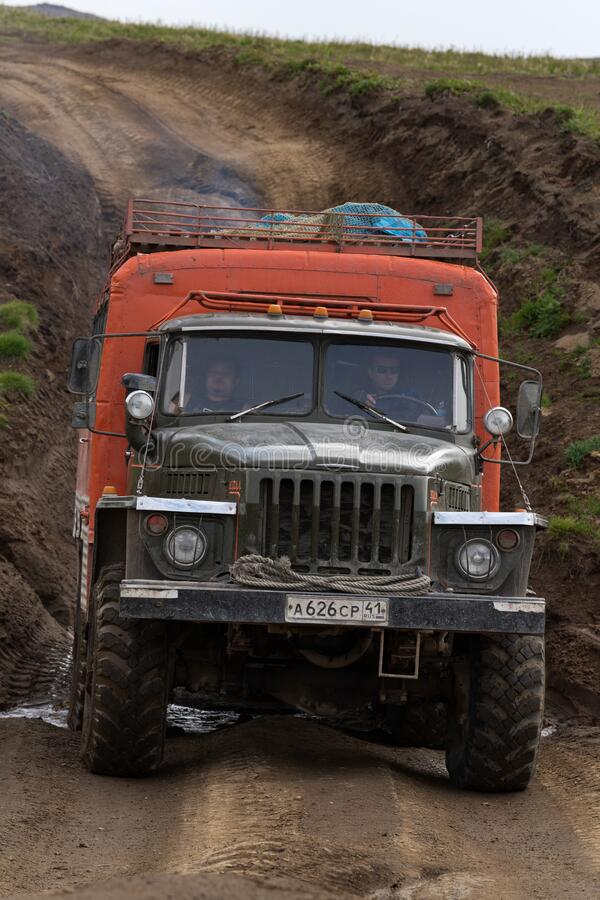 Free Off-road Extreme Expedition Truck Ural Driving On Mountain Road Royalty Free Stock Images - 216479739