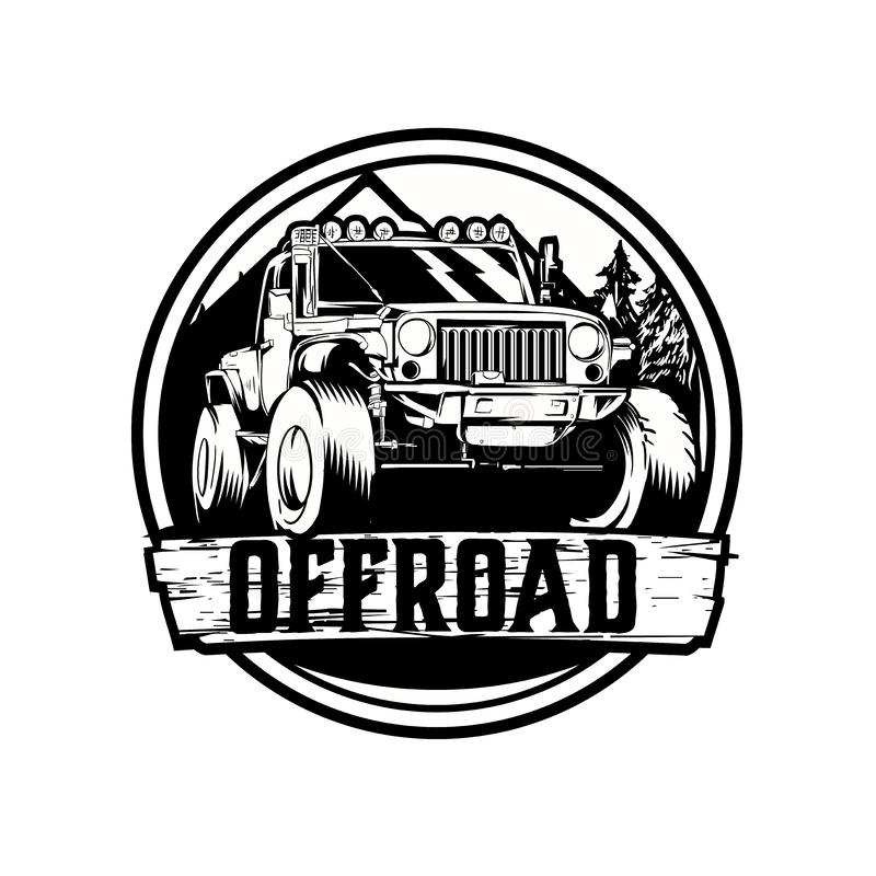 Off-road jeep car vector logo template royalty free illustration