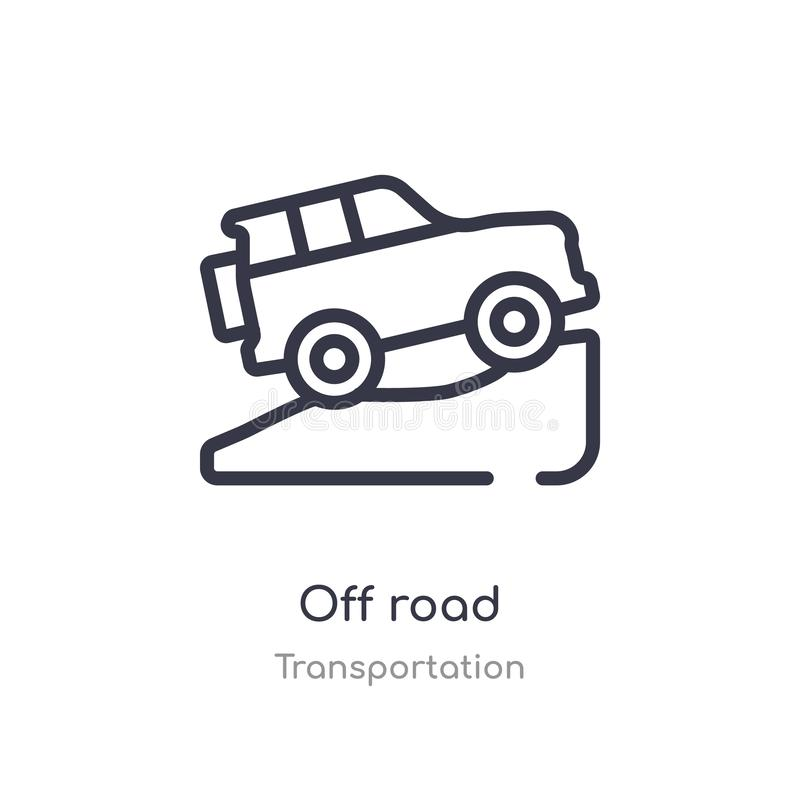 off road outline icon. isolated line vector illustration from transportation collection. editable thin stroke off road icon on royalty free illustration