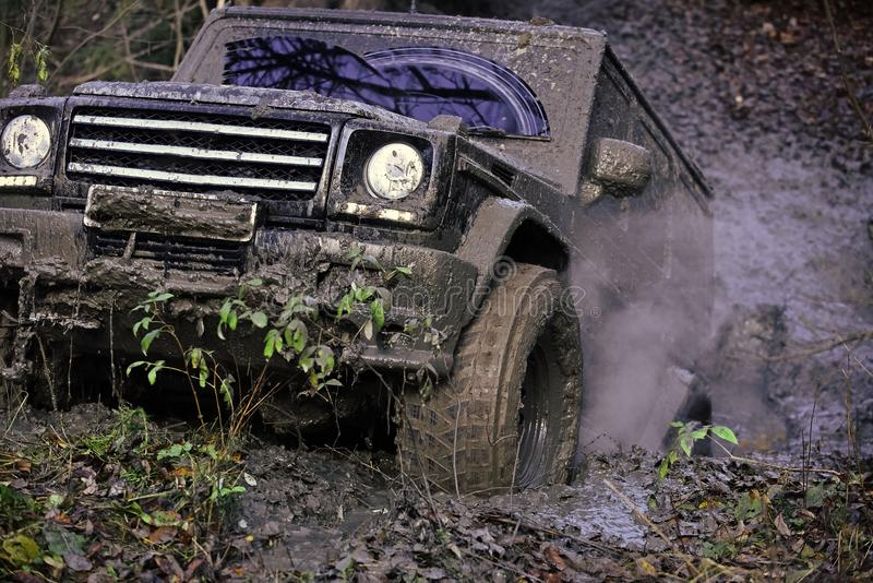 Off-road. Reduced gear concept. Dirty offroad car rides with obstacles. In forest area and stuck. Black crossover driving with cloud of smoke through dirt stock image
