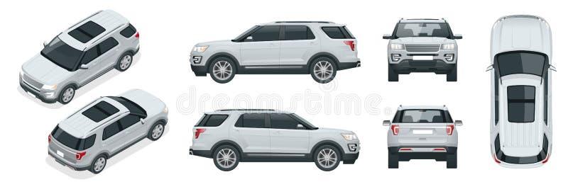 Off-road schrijf auto Modern VIP vervoer Offroad vector van het vrachtwagenmalplaatje isoleerde auto op witte Meningsvoorzijde, a stock illustratie