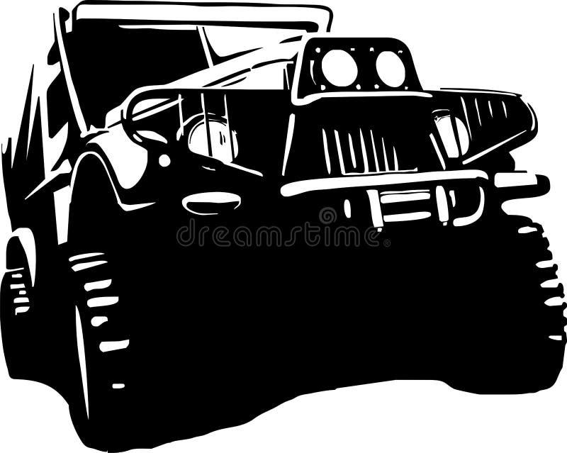 Off-road Suv jeep stock illustrationer