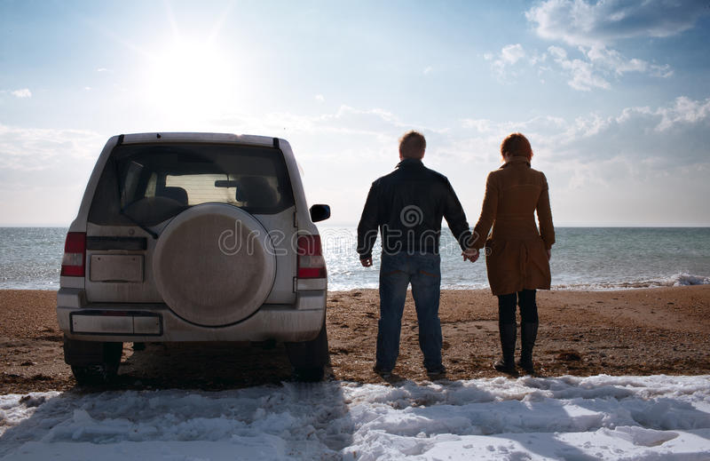 Off-road vehicle on the beach royalty free stock images