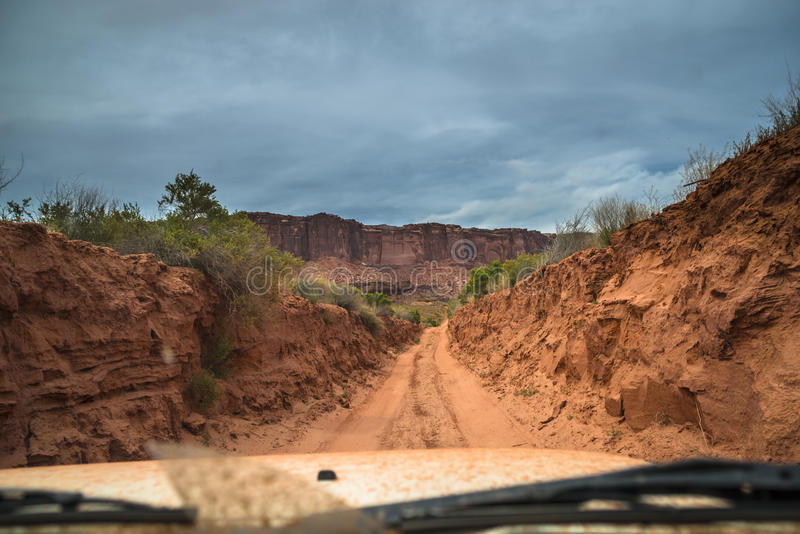 Off road vehicle in the canyon stock photography