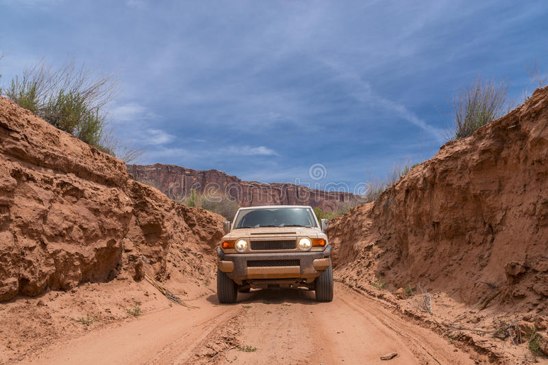 Off road vehicle in the canyon royalty free stock photography